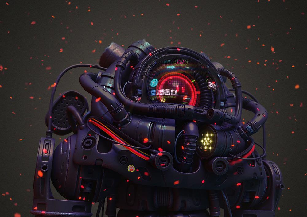 ilustrador jonathan ball ilustraciones 3D robot angle