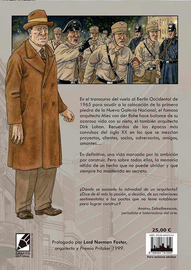Contraportada de la novela gráfica MIES de Agustín Ferrer Casas