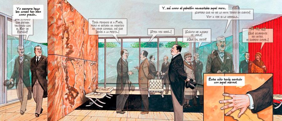 Página interior de la novela gráfica MIES de Agustín Ferrer Casas