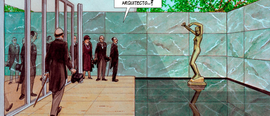 Detalle de ilustración de una página interior de la novela gráfica MIES de Agustín Ferrer Casas