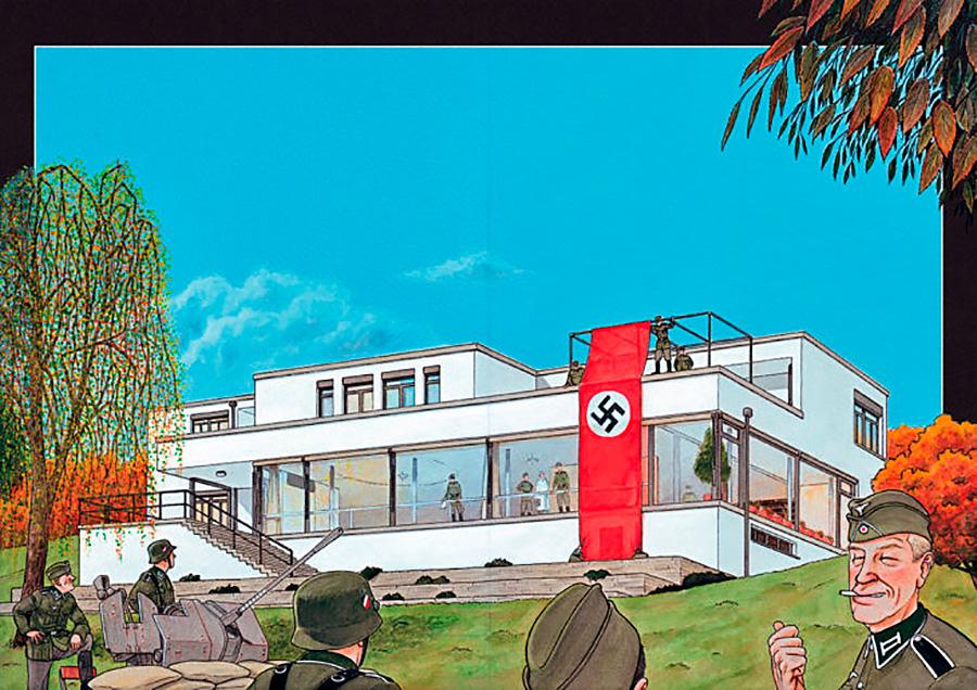 Ilustración arquitectónica de una página interior de la novela gráfica MIES de Agustín Ferrer Casas